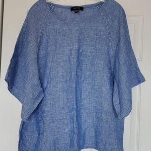 Karen Kane Santorini modern sleeve top in indigo